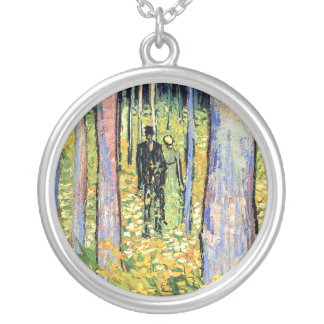 Van Gogh - Undergrowth With Two Figures Round Pendant Necklace