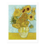 Van Gogh Vase 12 Sunflowers Post-Impressionism Postcard