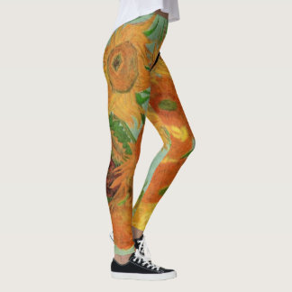 Van Gogh Vase with 12 Sunflowers, Flowers Fine Art Leggings