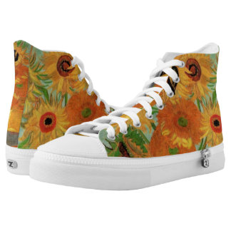 Van Gogh Vase with 12 Sunflowers, Flowers Fine Art Printed Shoes