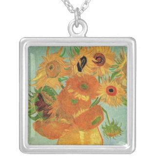 Van Gogh Vase with 12 Sunflowers, Flowers Fine Art Silver Plated Necklace