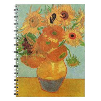 Van Gogh Vase with 12 Sunflowers, Flowers Fine Art Spiral Notebook