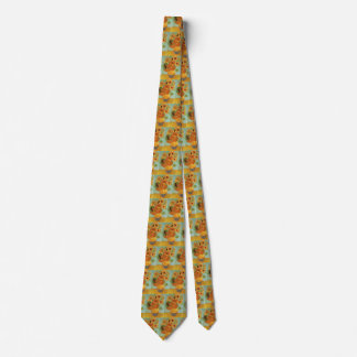 Van Gogh Vase with 12 Sunflowers, Flowers Fine Art Tie