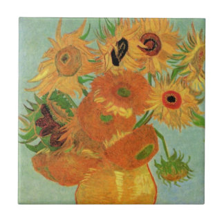 Van Gogh Vase with 12 Sunflowers, Flowers Fine Art Tile