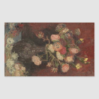 Van Gogh - Vase with Chinese asters and gladioli Rectangular Sticker