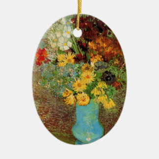 Van Gogh Vase with Daisies and Anemones Fine Art Christmas Ornament