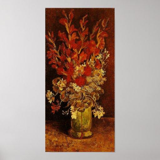 Van Gogh Vase with Gladioli, Carnations Posters