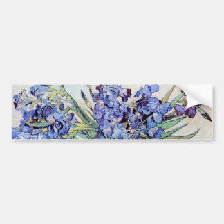 Van Gogh Vase with Irises, Vintage Floral Fine Art Bumper Sticker