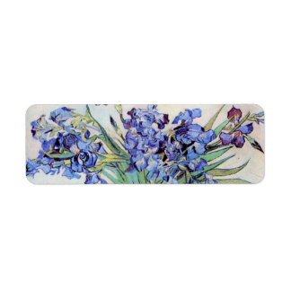 Van Gogh Vase with Irises, Vintage Floral Fine Art Return Address Label