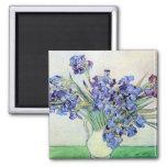 Van Gogh Vase with Irises, Vintage Floral Fine Art Square Magnet