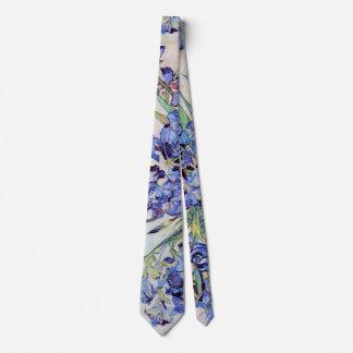Van Gogh Vase with Irises, Vintage Floral Fine Art Tie