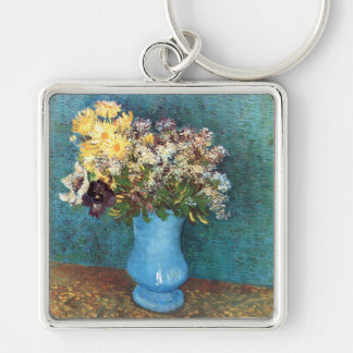 Van Gogh: Vase with Lilac, Marguerites & Anemones Silver-Colored Square Key Ring