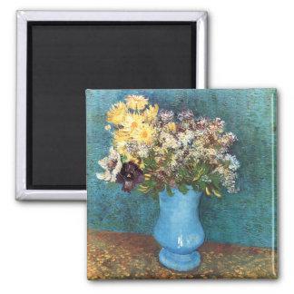Van Gogh: Vase with Lilac, Marguerites & Anemones Square Magnet