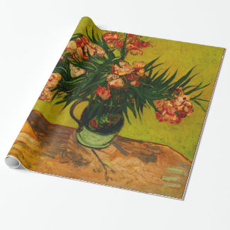 Van Gogh Vase With Oleanders And Books Floral Art Wrapping Paper