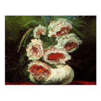Van Gogh Vase with Peonies, Vintage Floral Flowers Post Card