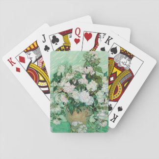 Van Gogh Vase with Pink Roses Flowers Painting Playing Cards