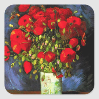 Van Gogh Vase With Red Poppies Stickers