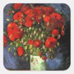 Van Gogh Vase with Red Poppies, Vintage Flower Art