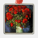 Van Gogh Vase with Red Poppies, Vintage Flower Art Silver-Colored Square Decoration