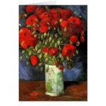 Van Gogh; Vase with Red Poppies, Vintage Flowers Cards