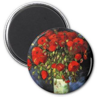 Van Gogh Vase with Red Poppies Vintage Flowers Refrigerator Magnet