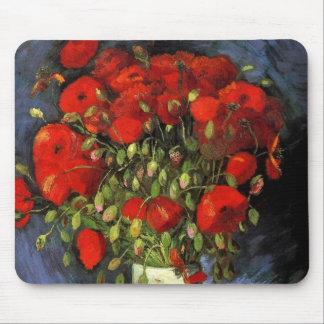 Van Gogh; Vase with Red Poppies, Vintage Flowers Mousemat