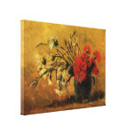 Van Gogh Vase with Red White Carnations on Yellow Stretched Canvas Print