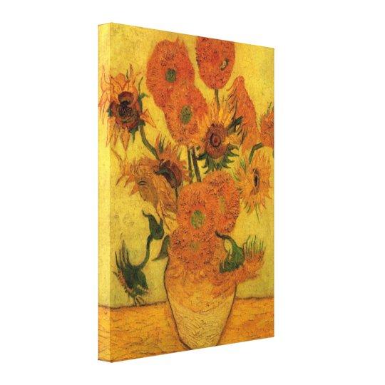 Van Gogh Vase with Sunflowers, Fine Art Flowers Canvas Print