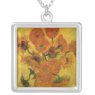 Van Gogh Vase with Sunflowers, Fine Art Flowers Silver Plated Necklace