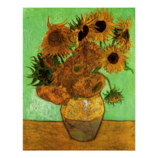 Van Gogh Vase with Sunflowers, Floral Fine Art Poster