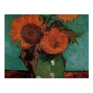 van gogh vase with three sunflowers postcard