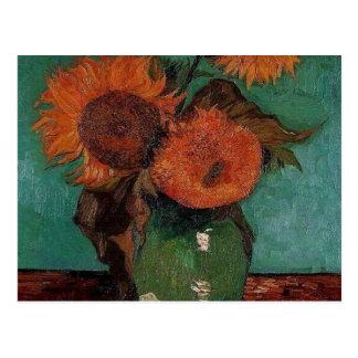 van gogh vase with three sunflowers postcard