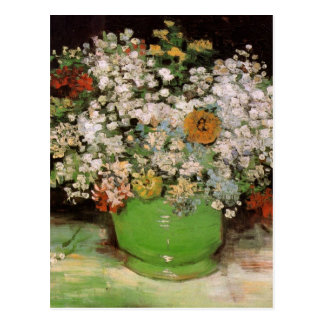 Van Gogh Vase with Zinnias and Flowers, Fine Art Postcard