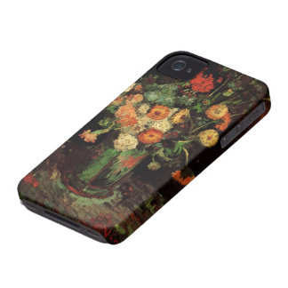 Van Gogh Vase with Zinnias and Geraniums Fine Art iPhone 4 Covers