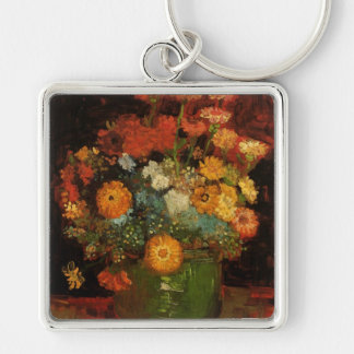 Van Gogh Vase with Zinnias Vintage Floral Fine Art Silver-Colored Square Key Ring