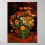 Van Gogh Vase with Zinnias, Vintage Floral Flowers