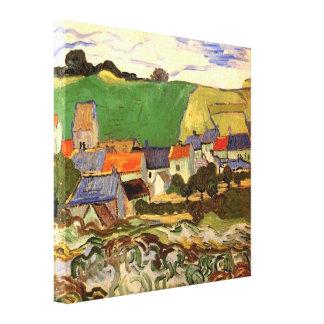 Van Gogh View of Auvers, Vintage Cottage Cityscape Canvas Prints
