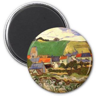 Van Gogh View of Auvers, Vintage Cottage Fine Art Magnet