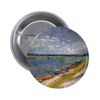 Van Gogh View of River w Rowing Boats, Vintage Art 6 Cm Round Badge