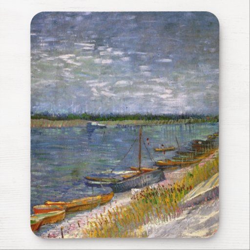 Van Gogh View of River w Rowing Boats, Vintage Art Mousepads