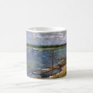 Van Gogh View of River w Rowing Boats, Vintage Art Basic White Mug