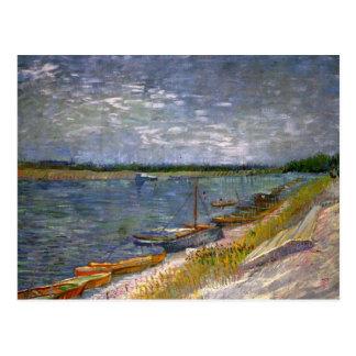 Van Gogh View of River w Rowing Boats, Vintage Art Postcard