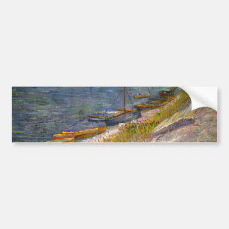 Van Gogh View of River with Rowing Boats, Fine Art Bumper Sticker