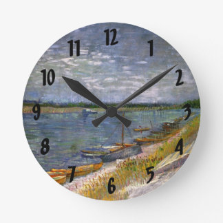 Van Gogh View of River with Rowing Boats, Fine Art Round Clock