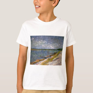 Van Gogh View of River with Rowing Boats, Fine Art T-Shirt