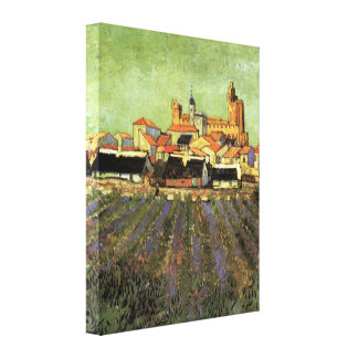Van Gogh View of Saintes Maries, Vintage Cityscape Gallery Wrapped Canvas