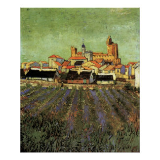 Van Gogh View of Saintes Maries Vintage Cityscape Print