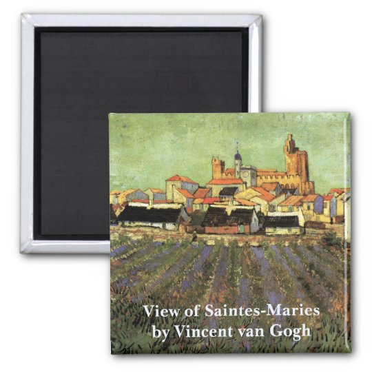 Van Gogh View of Saintes Maries, Vintage Fine Art Square Magnet