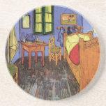 Van Gogh; Vincent's Bedroom in Arles, Vintage Art Beverage Coasters