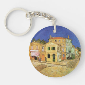 Van Gogh Vincent's House in Arles, Fine Art Double-Sided Round Acrylic Key Ring